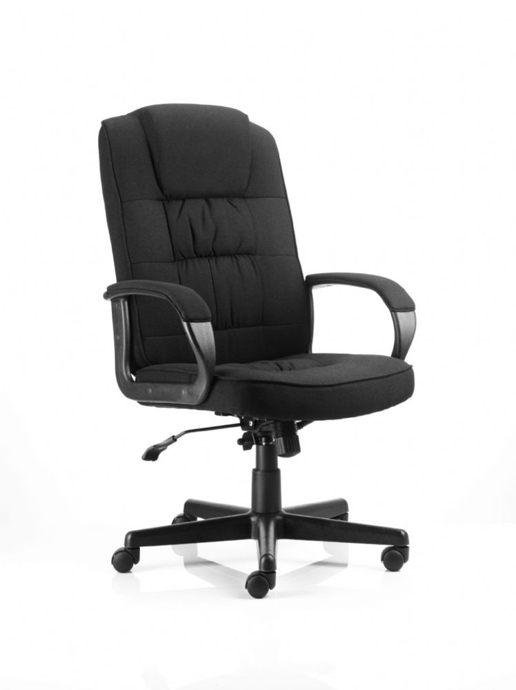 Moore Deluxe Executive Chair Fixed Padded Arms Twin Lever Lock Mech Office Various Fabric Colours
